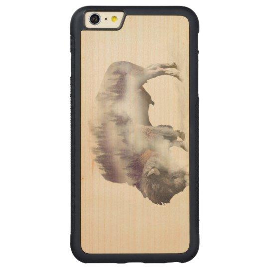 Büffel-doppelte Belichtung-amerikanische Carved® Maple iPhone 6 Plus Bumper Hülle