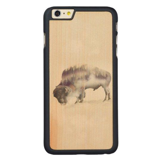 Büffel-doppelte Belichtung-amerikanische Carved® Maple iPhone 6 Plus Hülle