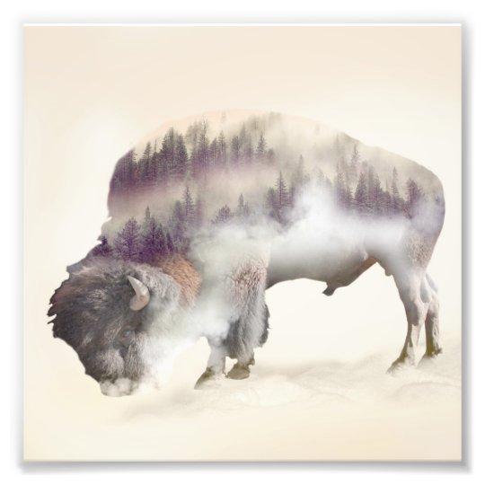 Büffel-doppelte Belichtung-amerikanische Fotodruck