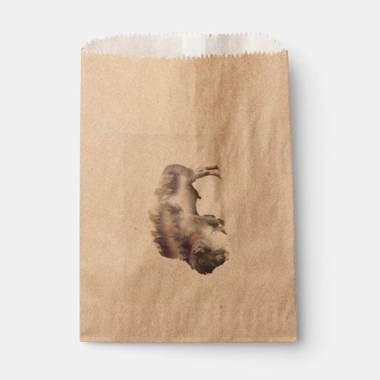Büffel-doppelte Belichtung-amerikanische Geschenktütchen