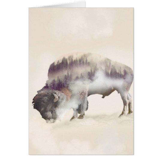 Büffel-doppelte Belichtung-amerikanische Grußkarte