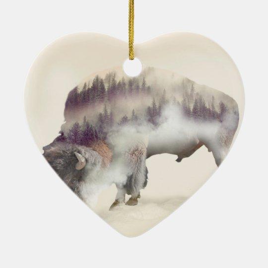 Büffel-doppelte Belichtung-amerikanische Keramik Herz-Ornament