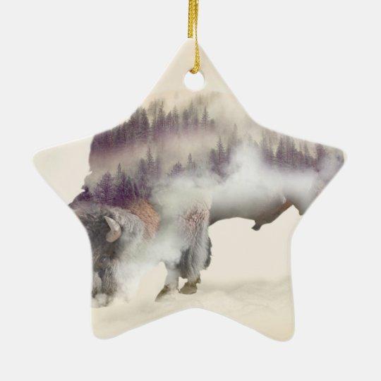 Büffel-doppelte Belichtung-amerikanische Keramik Stern-Ornament