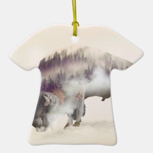 Büffel-doppelte Belichtung-amerikanische Keramik T-Shirt-Ornament