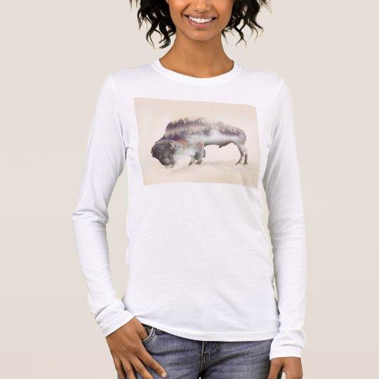 Büffel-doppelte Belichtung-amerikanische Langarm T-Shirt