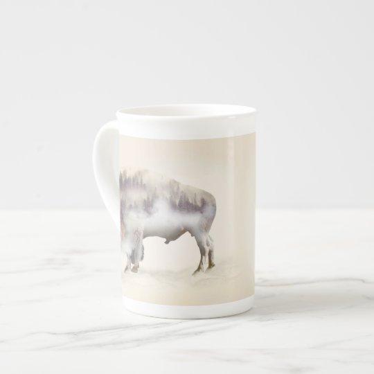 Büffel-doppelte Belichtung-amerikanische Porzellantasse