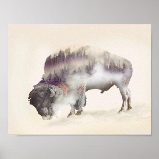 Büffel-doppelte Belichtung-amerikanische Poster