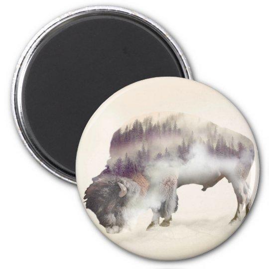Büffel-doppelte Belichtung-amerikanische Runder Magnet 5,7 Cm