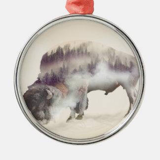 Büffel-doppelte Belichtung-amerikanische Silbernes Ornament