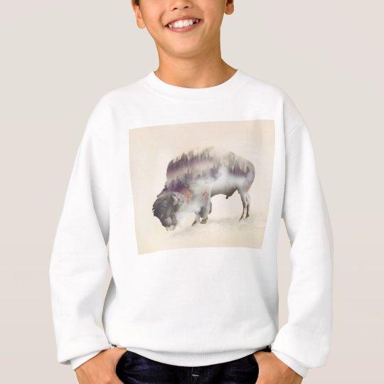Büffel-doppelte Belichtung-amerikanische Sweatshirt