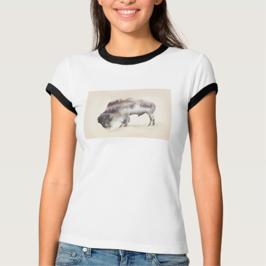 Büffel-doppelte Belichtung-amerikanische T-Shirt