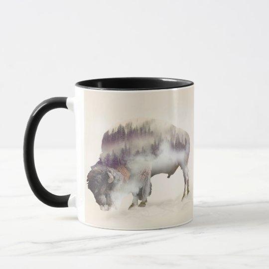 Büffel-doppelte Belichtung-amerikanische Tasse