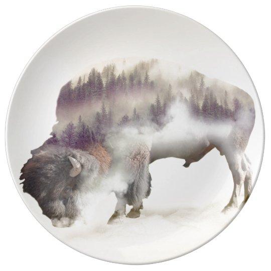 Büffel-doppelte Belichtung-amerikanische Teller Aus Porzellan