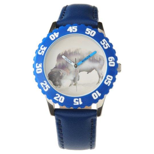 Büffel-doppelte Belichtung-amerikanische Uhr