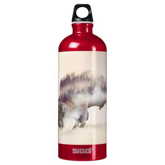 Büffel-doppelte Belichtung-amerikanische Wasserflasche