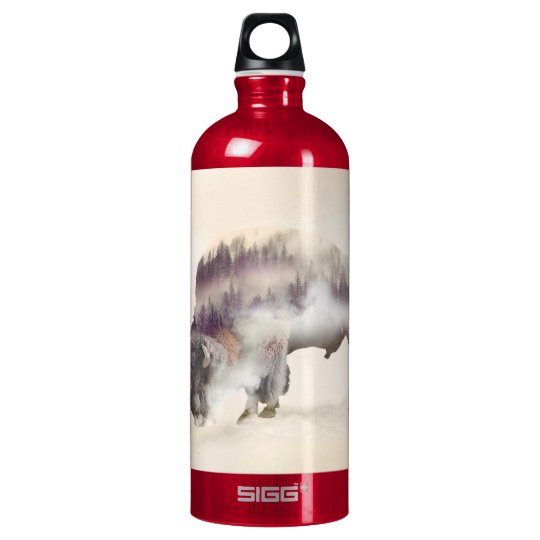 Büffel-doppelte Belichtung-amerikanische Wasserflaschen