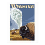 Büffel durch altes zuverlässiges Vintages Reise-Pl Postkarte