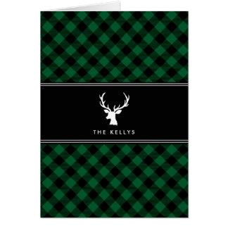 Büffel kariert, grün mit den Rotwild, Karte