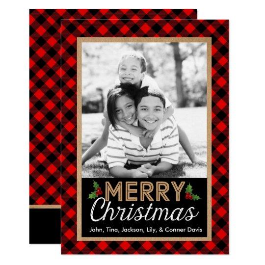 Büffel-karierte Weihnachtsstechpalmen-Foto-Karte 12,7 X 17,8 Cm Einladungskarte