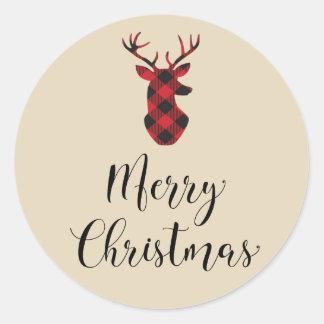 Büffel-karierter Rotwild-frohe Weihnacht-Aufkleber Runder Aufkleber