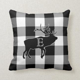 Büffel-Karo-Schwarz-weiße   mit Monogramm Elche Kissen