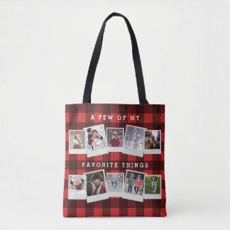 Büffel-Karo-schwarzes und rotes Holzfäller-Foto Tasche