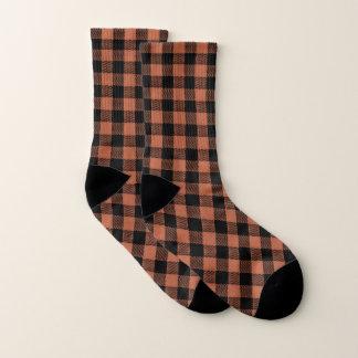 Büffel-Karo-Zurück-Orange-Erwachsen-Multi-Size Socken