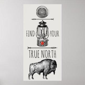 Büffel-Kompass-Laternen-Plakat Poster