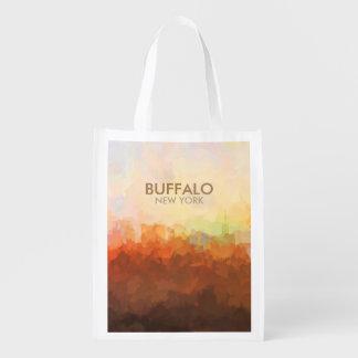 Büffel, New- YorkSkyline in den WOLKEN Wiederverwendbare Einkaufstasche