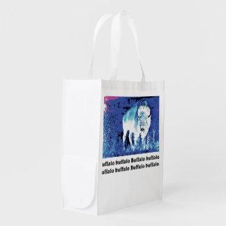Büffel Posterization Wiederverwendbare Einkaufstasche