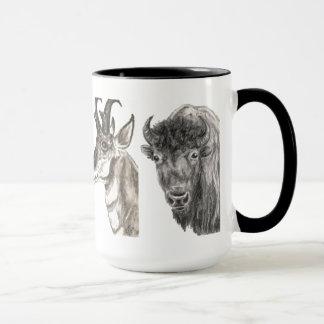 Büffel Pronghorn Antilopen-Holzkohlen-Kunst-Tasse Tasse