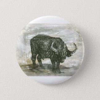 Büffel Stier Runder Button 5,7 Cm