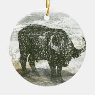 Büffel Stier Rundes Keramik Ornament