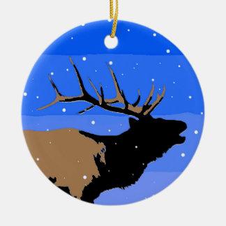 Bugling Elche im Winter Keramik Ornament