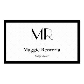 Bühne-Schauspieler - sauberes stilvolles Monogramm Visitenkarten