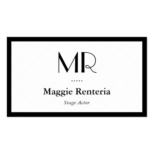 Bühne-Schauspieler - sauberes stilvolles Monogramm Visitenkarten Vorlagen