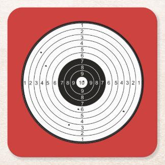Bullaugen-Kreis-Rot - quadratischer Untersetzer