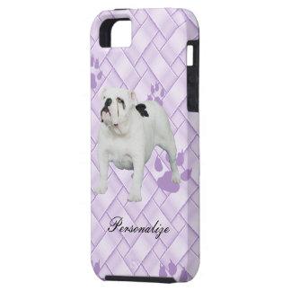 Bulldogge auf Lavendel-Webart w/pawprints Hülle Fürs iPhone 5