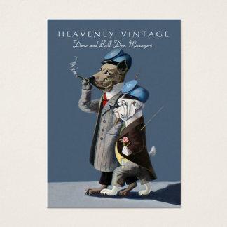 Bulldogge und großer Däne - lustiges Vintages Visitenkarte