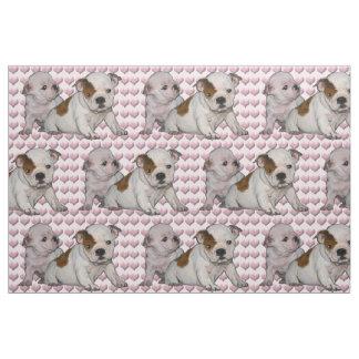 Bulldoggen-Baby- und Herzgewebe Stoff