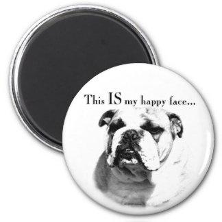 Bulldoggen-glückliches Gesicht Runder Magnet 5,7 Cm