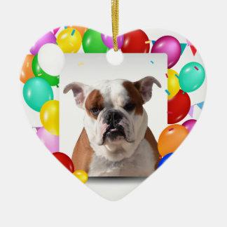 Bulldoggen-Hund mit buntem Keramik Ornament