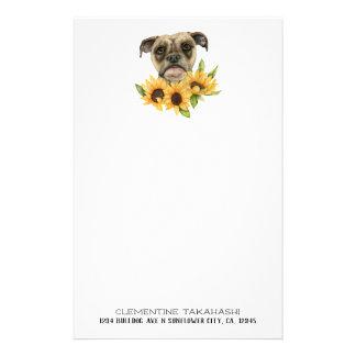 Bulldoggen-Mischung mit Sonnenblumen | addieren Briefpapier