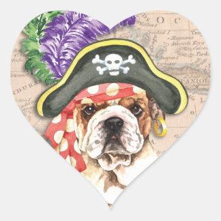 Bulldoggen-Pirat Herz-Aufkleber