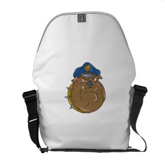 Bulldoggen-Polizist-Kopf-Cartoon Kuriertasche