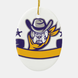 Bulldoggen-Sheriff-Cowboy-Kopf-Fahne Retro Keramik Ornament
