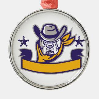 Bulldoggen-Sheriff-Cowboy-Kopf-Fahne Retro Silbernes Ornament