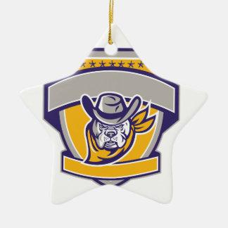 Bulldoggen-Sheriff-Cowboy-Kopf-Schild Retro Keramik Ornament