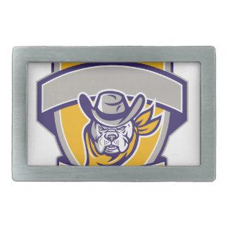 Bulldoggen-Sheriff-Cowboy-Kopf-Schild Retro Rechteckige Gürtelschnalle