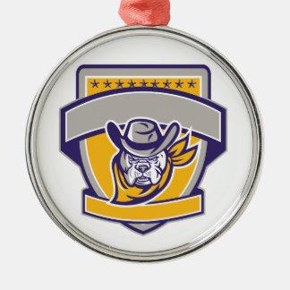 Bulldoggen-Sheriff-Cowboy-Kopf-Schild Retro Silbernes Ornament